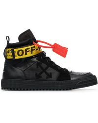 Off-White c/o Virgil Abloh - Black Industrial Hi Top Leather Trainers - Lyst
