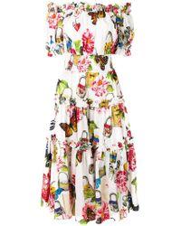 Dolce & Gabbana - Schulterfreies Kleid mit Schmetterlingen - Lyst