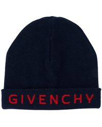 b48d1ff1487 Lyst - Givenchy Pink Leather Logo Patch Beanie in Pink