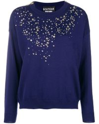 Boutique Moschino - Stars And Studs Trimmed Sweater - Lyst