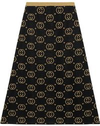 Gucci - Wool Skirt With GG Motif - Lyst