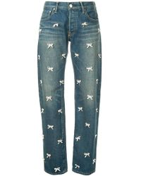 Tu Es Mon Tresor - Bow Detail Straight Jeans - Lyst