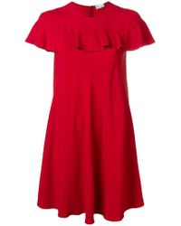 RED Valentino - Ruffle Detail Mini Dress - Lyst