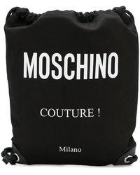Moschino - Black Drawstring Bag With Fabric Logo - Lyst