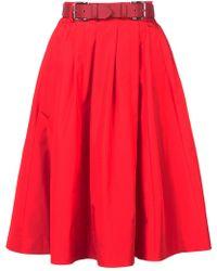 Dice Kayek - Belted Taffeta Flared Skirt - Lyst