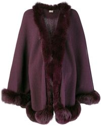 N.Peal Cashmere - Fox Trim Knitted Cape - Lyst