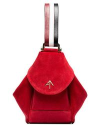 MANU Atelier - Red, White And Black Micro Fernweh Suede Leather Bag - Lyst