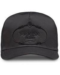 bc5a63c12d4 Prada Triangle Logo Baseball Cap in Black for Men - Lyst