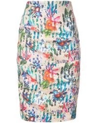 Nicole Miller - Floral Printed Fitted Pencil Skirt - Lyst