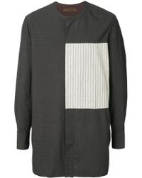 Ziggy Chen - Striped Panel Long Line Shirt - Lyst
