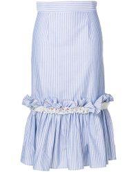 JOUR/NÉ - Oxford Stripe Ruffled Skirt - Lyst