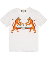 Gucci - Logo With Tigers T-shirt - Lyst