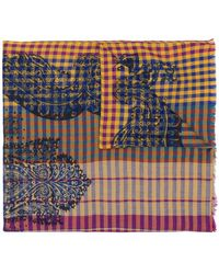 Etro - Gingham Paisley Scarf - Lyst