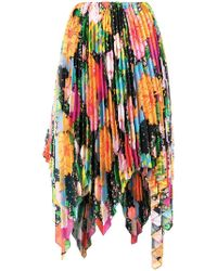 Richard Quinn - Floral Print Asymmetric Pleated Skirt - Lyst
