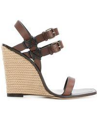 Saint Laurent - Stacked Heel Wedge Sandals - Lyst