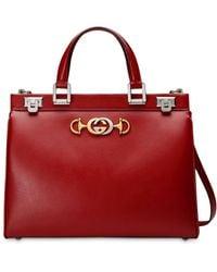 Gucci - Zumi Smooth Leather Medium Top Handle Bag - Lyst