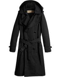 Burberry - Detachable Hood Cotton Trench Coat - Lyst