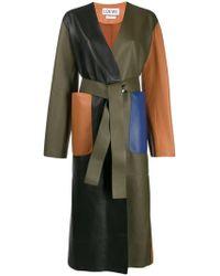 Loewe - Colour Block Leather Coat - Lyst