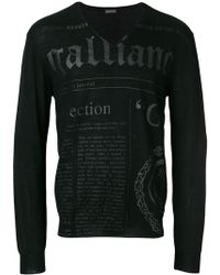 John Galliano - Branded V-neck Jumper - Lyst