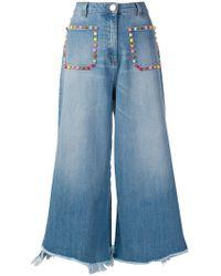 Elisabetta Franchi - Cropped Wide-leg Jeans - Lyst