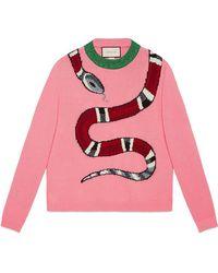 Gucci - Snake Intarsia Wool Knit Jumper - Lyst