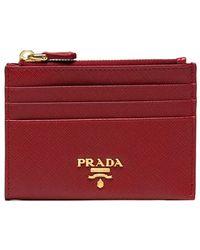 Prada - Red Saffiano Zip Leather Cardholder - Lyst