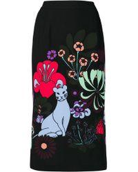 Essentiel Antwerp - Reglisse Floral Print Midi Skirt - Lyst