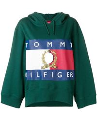 Tommy Hilfiger - Logo Print Cropped Hoodie - Lyst