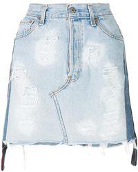 Forte Couture - Distressed Denim Mini Skirt - Lyst