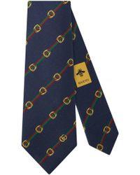 Gucci - Cravate en soie à imprimé étriers et bande Web - Lyst