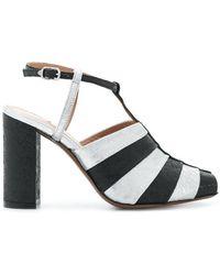 L'Autre Chose - Striped T-bar Sandals - Lyst