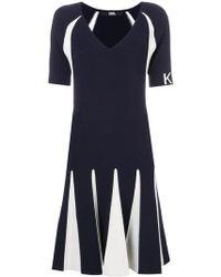 Karl Lagerfeld - Contrasting Stitching Knit Dress - Lyst
