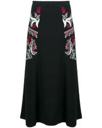 Vilshenko - Embroidered Floral Details A-line Skirt - Lyst
