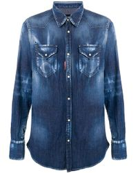 DSquared² - Distressed Denim Shirt - Lyst