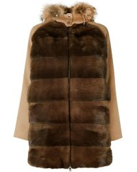 P.A.R.O.S.H. - Fur Trim Hooded Coat - Lyst