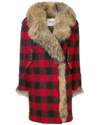 Bazar Deluxe - Racoon Fur-lined Checkered Coat - Lyst