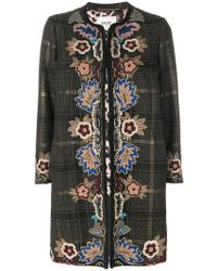 Bazar Deluxe - Embroidered Checked Coat - Lyst