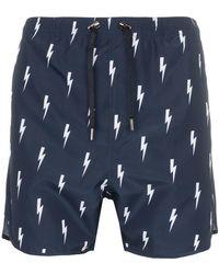 Neil Barrett - Lightning Bolt Print Swim Shorts - Lyst