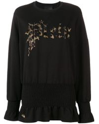 Philipp Plein - Embellished Logo Sweatshirt Dress - Lyst