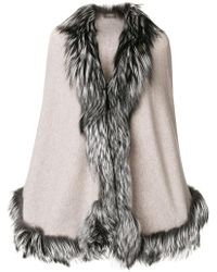 N.Peal Cashmere - Fur Trimmed Cape - Lyst