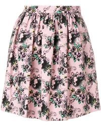 Boutique Moschino - Jacquard Pleated Mini Skirt - Lyst