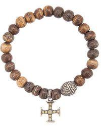 Loree Rodkin - Bone Bead Cross Bracelet - Lyst