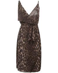 L'Agence - Schmales Seidenkleid mit Leoparden-Print - Lyst