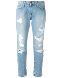 Current/Elliott - Cropped Distressed Jeans - Lyst