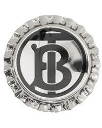 Burberry Monogrammed Bottle Cap Brooch - Metallic