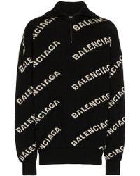 Balenciaga - Джемпер С Жаккардовым Узором С Логотипами - Lyst