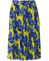 a7a4578d2320 Balenciaga - Poppy Print Sunray Pleated Skirt Yellow - Lyst