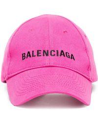 5aee83b92ce7f Balenciaga - Pink Logo Embroidered Cap - Lyst