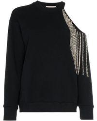 Christopher Kane - Diamante Fringed Cold-shoulder Cotton Sweatshirt - Lyst