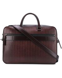 Ermenegildo Zegna Taccuino Leather Laptop Bag - Red